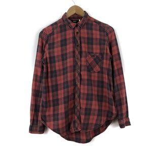 Plaid Black & Red Flannel Overshirt / Women XS